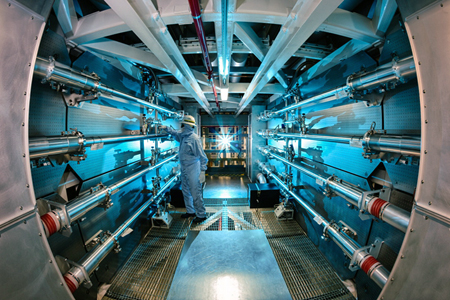 Power up! The preamplifiers of the LLNL's National Ignition Facility are readied.