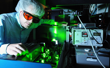 Flashy: A mode-locked laser at the Max-Planck-Institute of Quantum Optics, Munich.