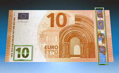More secure: The Eurozone's new €10 bills.