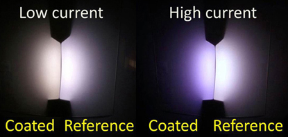 When dimmed (left) the coated LEDs emit a