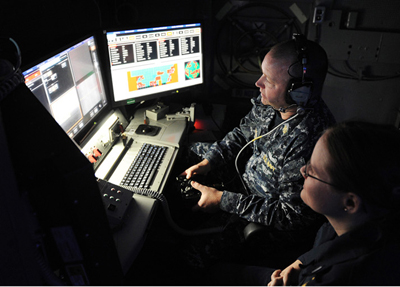 Ops room for the laser weapon system installed on the USS Ponce.