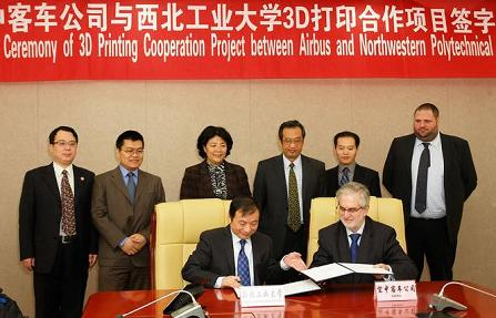 Airbus signing a joint R&D agreement with China's Northwestern Polytechnical University.