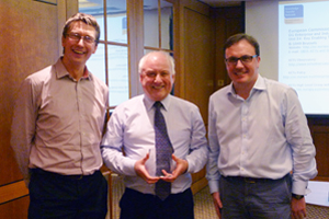 Photonics celebration: John Lincoln, Alastair Wilson and Chris Dorman.