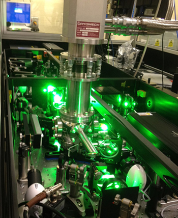 Set-up at Rutherford Appleton Laboratories in the Artemis laser facility.