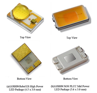 Some typical high- and mid-power LED packages by Philips Lumileds.