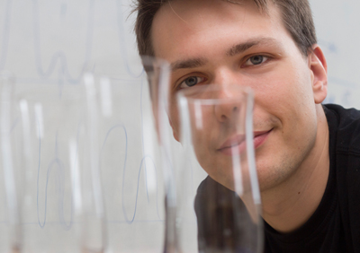 Glassy stare: Georg Wachter studies the material properties of quartz.