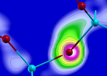 Computer simulations show the electron flux from one atom to another.