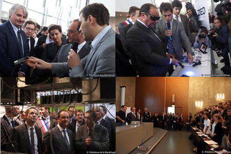 Fantastique! President François Hollande shows interest in emerging photonics companies.