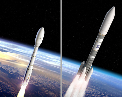 Laser ignited? Artist's impression of the Vega C and Ariane 6 rockets.