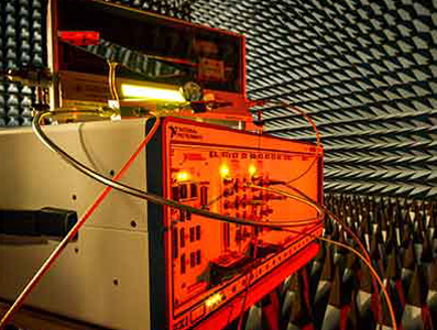 Leo Laughlin's novel full-duplex transceiver in the anechoic chamber.