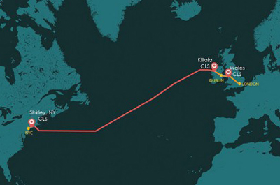 Transatlantic: New optical network from New York to British Isles.