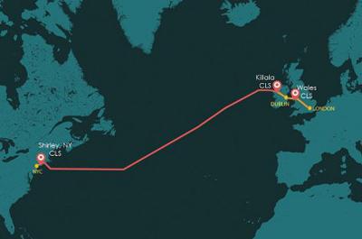 Transatlantic: New optical network from New York to British Isles.