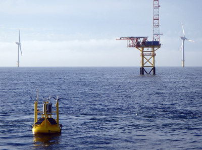 In the North Sea, wind measurement buoy with sophisticated, precise measurement technology.