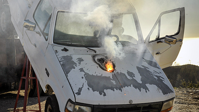 Lockheed Martin ATHENA laser weapon system destroys a truck from 1 mile away.