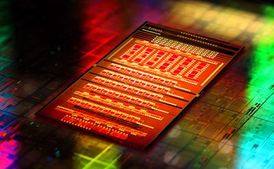 A CMOS silicon photonics chip.