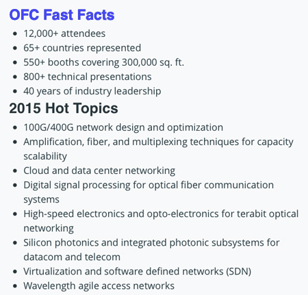 OFC2015: At a glance