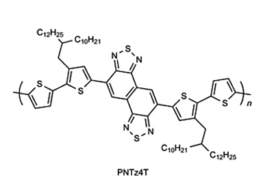 Structure of PNTz4T, a quaterthiophene-naphthobisthiadiazole copolymer.