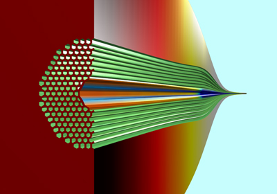 Cut-away of hollow core photonic bandgap fiber, generated by fluid dynamics simulation.