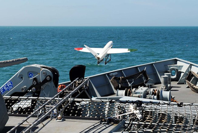 Take-off: the UAV is catapult-launched from HMS Mersey.