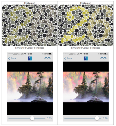 Enhanced: Original (left) and EYETEQ technology adjusted images (right).