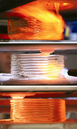 Evolution of the optical glass 3D-printing process.