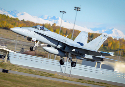 Taking off: a US Navy F-18 Hornet; the military could benefit from 3D printing.