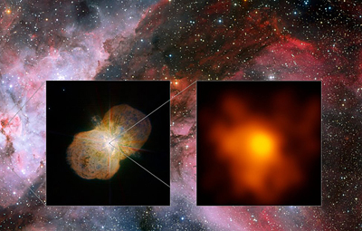 Super stars: the Carina Nebula (left side), home of the Eta Carinae star system.