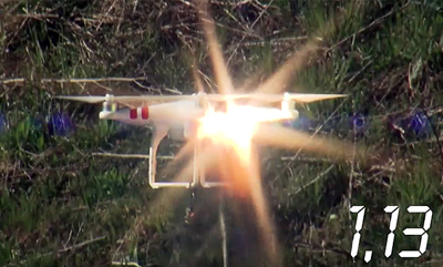 Game over: the quadcopter is destroyed after a few seconds exposure to the effector beam.