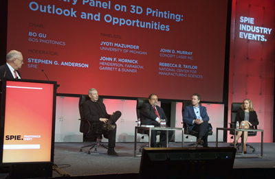 SPIE's Steve Anderson (left) chaired the 3D Printing panel.