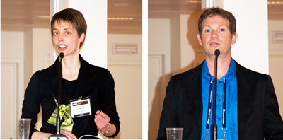 Graphene workshop chairs Nathalie Vermeulen and Frank Koppens.