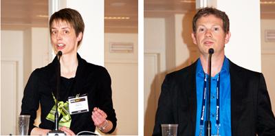 Graphene workshop chairs Nathalie Vermeulen and Frank Koppens.