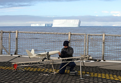 Icebergs ahoy! SULSA UAV on deck of HMS Protector.
