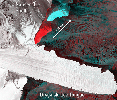 Sentinel 1A image: the birth of two icebergs in April 2016.