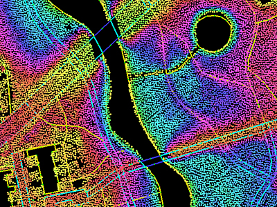 Laser-scanned 2D image of sector of the city of Zwolle, Netherlands.