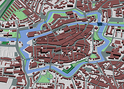 Zwolle city centre made by fusing map data with airborne laser scanning data.