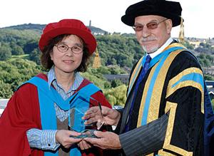Prof Jiang with University Chancellor Sir Patrick Stewart.