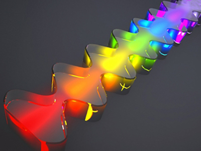 Artist's impression of the gain medium that produces terahertz frequency combs.
