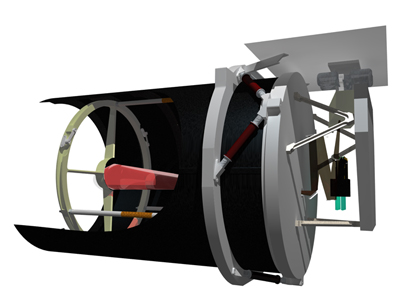 Renders showing cut-away of the Twinkle telescope.