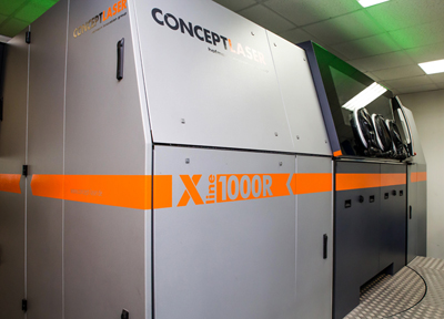 3D SLM printer: the X line 1000R from Concept Laser.