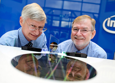 Renewal: Intel's Mike Mayberry (left) and Dr. Kieran Drain of Tyndall National Institute,