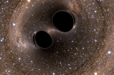 How the merging of black hole binary systems GW150914 and GW151226 might look.