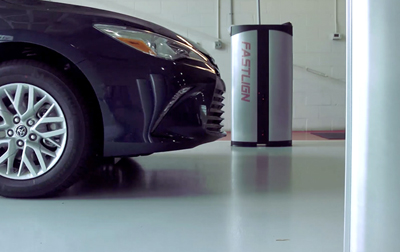 The laser-based Fastlign system checks critical vehicle specs like wheel alignment.