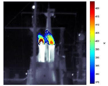 Hyperspectral remote imaging of a ship's exhaust plume.