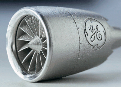 GE produced this model GEnx jet engine by 3D direct metal laser melting.