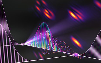 Artist's conception of comb-based two-dimensional coherent spectroscopy.