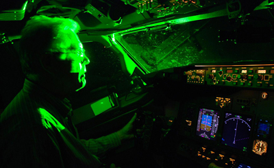 Since 2005, 35,000 laser pointing strikes were reported to the US FAA.