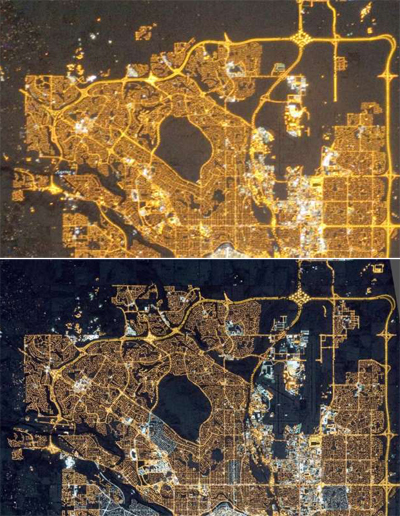Calgary, AB. Above in 2010 (orange sodium lamps); below in 2015 (white LED lamps).