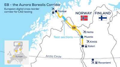 Finland's E8 highway aka Aurora, the Arctic intelligent transport test ecosystem.