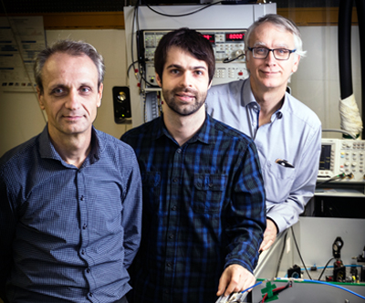 Karl Unterrainer, Dominic Bachmann and Juraj Darmo at the Vienna Photonics Institute.