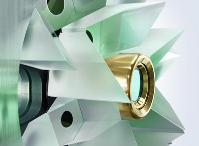YAG disk generates multi-kilowatt laser output.